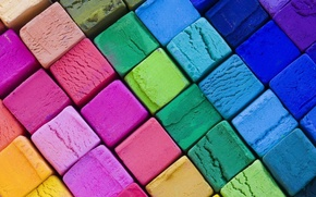 Picture bright, background, cubes, texture, colorful, crayons