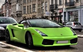 Picture green, green, street, Lamborghini, gallardo, street, Lamborghini, Gallardo