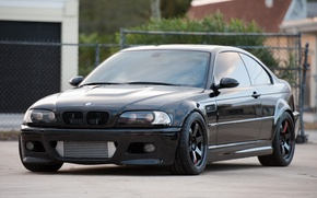 Picture reflection, black, bmw, BMW, wolf, wheels, drives, black, front view, people, e46