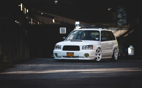 Picture turbo, white, wheels, subaru, japan, jdm, tuning, front, sti, face, low, stance, forester