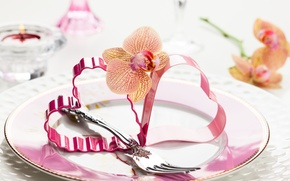 Wallpaper flowers, romance, heart, heart, flowers, orchid, Valentine's Day