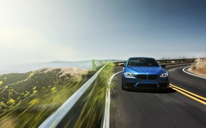 Picture road, blue, bmw, BMW, road, f10, bump, monte carlo blue, serpentine