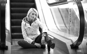 Picture look, girl, sitting, Escalator