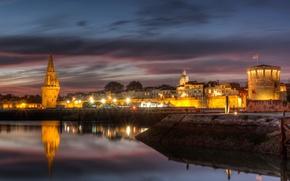 Picture river, France, home, architecture, France, evening., La rochelle