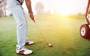Wallpaper golf club, golfers, white ball, grass, golf