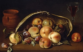 Picture picture, still life, Basket with Peaches and Plums, Peter of Camprobín
