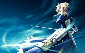 Picture girl, background, the wind, sword, art, saber, fate/stay night, type-moon