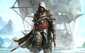 Picture Water, Island, Ship, Coast, Assassin's Creed 4, Black Flag