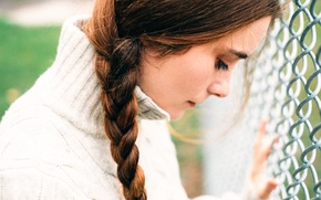 Picture girl, mesh, thoughts, braid