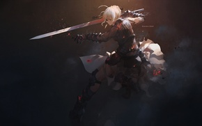 Picture girl, sword, anime, art, Fate/Stay Night, The saber