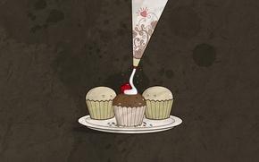 Picture cherry, minimalism, cake, cream, cakes, brown background
