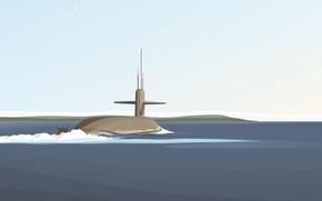 Picture minimalism, vector, submarine, submarine