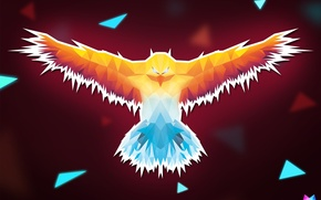 Picture line, fire, bird, triangles, heat, angle, geometry, art, Phoenix, Crystallized, by Asterii, abstract animals