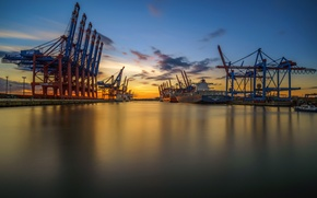 Picture sunset, port, Hamburg