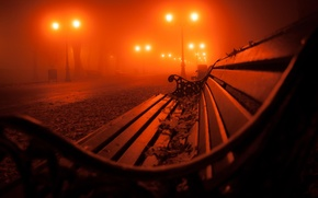 Picture autumn, leaves, bench, night, fog, Park, lights, alley