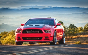 Picture red, Mustang, red, ford, tuning, muscle car, street, oil CT