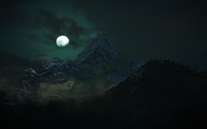 Picture clouds, trees, mountains, night, rendering, the moon
