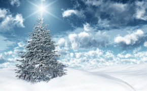 Wallpaper winter, the sky, the sun, clouds, light, snow, holiday, new year, spruce, new year, sky, ...