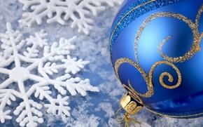 Wallpaper blue, new year, ball
