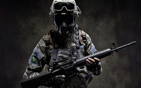 Picture weapons, machine, gas mask, Soldiers, special forces