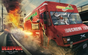 Picture fan art, marvel comics, Deadpool, van, the explosion, road