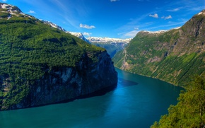 Wallpaper the sky, trees, mountains, rocks, Norway, Sunny, Norway, the fjord, Ålesund, fjord, Geirangerfjord