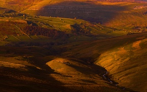 Picture light, field, England, home, valley