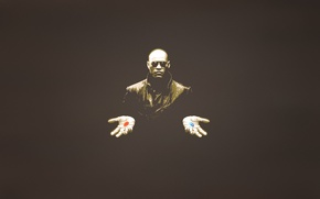 Wallpaper people, minimalism, hands, glasses, pills, matrix, matrix, red, blue, Laurence Fishburne, Lawrence Fishbourne, dark background, ...