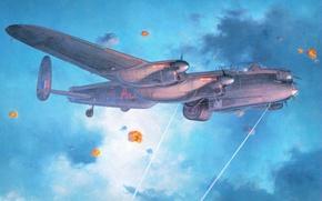 Picture the sky, figure, art, bomber, the plane, four-engine, RAF, WW2, caps breaks, Lancaster B Mk.3 …