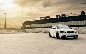 Picture roof, white, the sky, clouds, bmw, BMW, coupe, lantern, white, e92