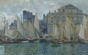 Wallpaper sail, the urban landscape, sea, boat, The Museum Of Le Havre, picture, Claude Monet