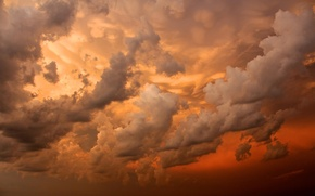 Picture the sky, clouds, sunset, orange, red