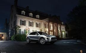 Picture night, Porsche, silver, Porsche, night, crossover, silvery, Evano Gucciardo, Macan S, makan