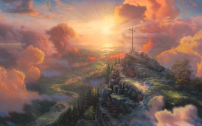 Wallpaper light, cross, painting, Thomas Kinkade, sun light, The Cross