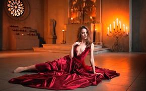 Picture neckline, red dress, photo session, Kseniya Kokoreva