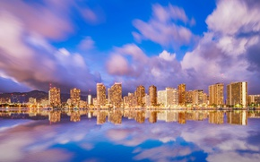 Picture sea, the sky, water, clouds, mountains, lights, reflection, coast, home, the evening, lights, Hawaii, USA, …