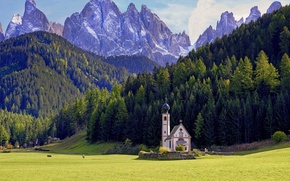Wallpaper forest, mountains, meadow, Italy, Church, Italy, The Dolomites, South Tyrol, South Tyrol, Dolomites, Funes, Santa ...