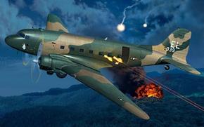 Picture war, art, airplane, painting, AC-47D Gunship