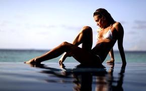 Picture sea, swimsuit, girl, tan, legs