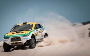 Picture Sand, Auto, Sport, Desert, Machine, Race, Mitsubishi, Mitsubishi, Rally, Dakar, Dakar, SUV, The front