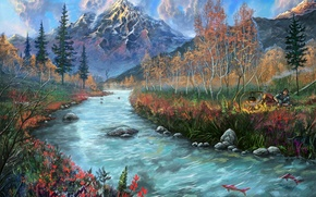 Picture mountains, art, fish, people, painted landscape, the fire, river, stones