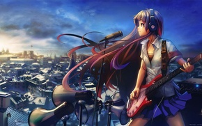 Picture CITY, GUITAR, ROOFTOP, MICROPHONE