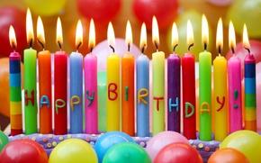 Wallpaper balls, candles, Happy Birthday, Birthday