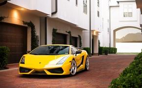 Picture the building, Lamborghini, pavers, Superleggera, Gallardo, yellow, Lamborghini, yellow, garages, Lamborghini, Gallardo, Superleggera