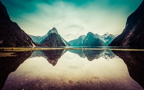 Picture clouds, snow, mountains, lake, reflection, New Zealand, New Zealand, mountains, clouds, lake, snow, reflection, Milford ...