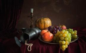 Picture garnet, Apple, pumpkin, candle, pitcher, necklace, still life, grapes
