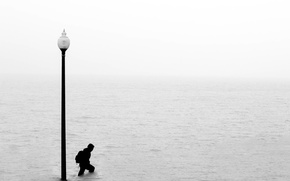 Picture water, horizon, flood, guy, infinity, lamppost