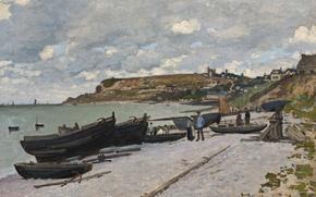 Picture landscape, picture, Claude Monet, Sainte-Adresse. Fishing Boats on the Shore