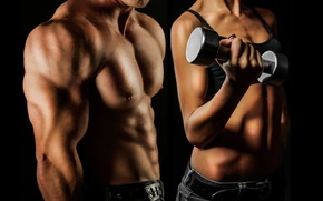 Picture dumbbell, dumbbells, effort, hard work, bodybuilding man and woman