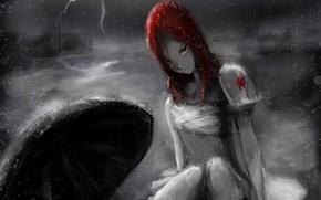 Picture girl, rain, lightning, umbrella, anime, art, fairy tail, tale of fairy tail, ezra scarlet
